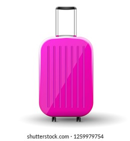 Pink plastic glossy travel suitcase.