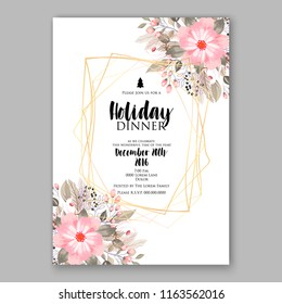 Pink Poinsettia Christmas party invitation flyer winter floral vector background bridal shower baby shower christening baptism birthday card anniversary poinsettia winter holiday wreath