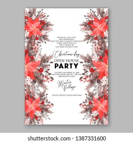 Pink Poinsettia Merry Christmas Party Invitation flyer Floral winter wreath of flower fir pine cone berry