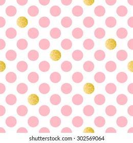 Pink polka dot seamless background with golden glitter effect. Vector illustration.