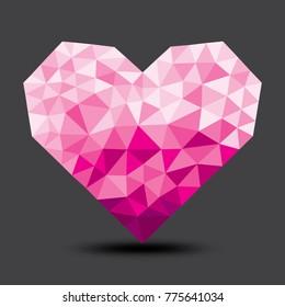 Pink polygonal heart designed for Valentine's card