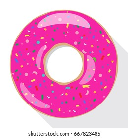 Pink pool float, ring floating. Summer vacation or trip safety item. Top view swimming circle for ocean, sea, pool.