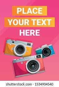 Pink poster with bright compact cameras