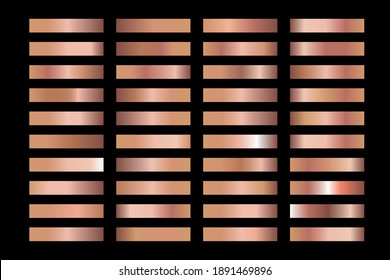 Pink powdery background texture vector icon pattern. Shiny golden metal foil gradient set