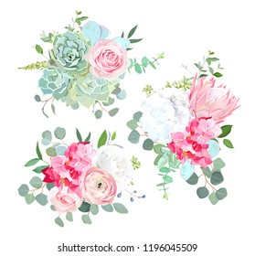 Pink protea, ranunculus, rose, white hydrangea, seeded eucalyptus, succulent, greenery vector design bouquets. Beautiful summer wedding flowers.Watercolor style. All elements are isolated and editable