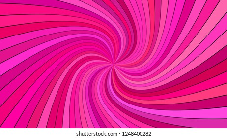 Pink psychedelic geometrcial spiral stripe background - vector curved ray design