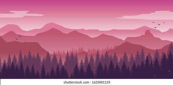 Pink and purple  beautiful landscape, misty fog on mountain slopes. Abstract gradient background, vector illustration.