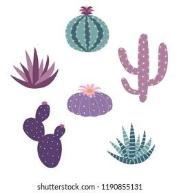 pink, purple and blue house plants cactus peyote haworthia aloe sansevieria icon set vector.