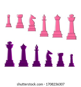 Pink and purple chess. Set of chess pieces made in the style of flat. The illustration shows figures of king, queen, round, elephant, horse and pawn in two colors pink and purple. Vector illustration.