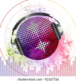 pink and purple disco ball with headphones on a grunge background with equaliser