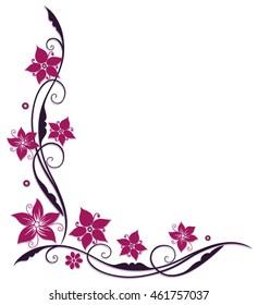 Pink and purple flowers, filigree vector design.