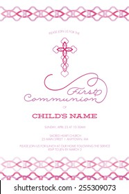 Pink and Purple Girl's First Communion/Baptism/Christening/Confirmation Invitation with Cross