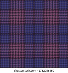 Pink and purple glen tartan pattern vector. Seamless hounds tooth check plaid tweed graphic for skirt, jacket, coat, or other autumn and winter fashion textile print.