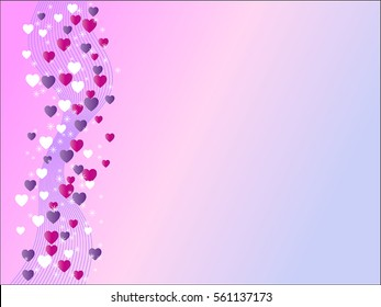 Pink and purple gradient valentine background with waves and hearts.
