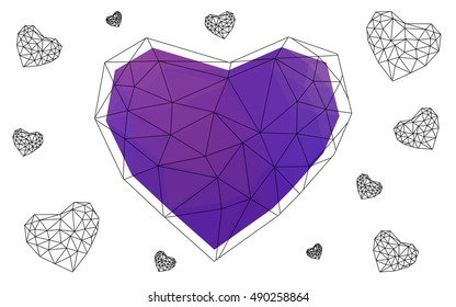 Pink, purple heart isolated on white background. Geometric rumpled triangular low poly origami style gradient graphic illustration. Vector polygonal design for your business.