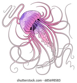 Pink purple jellyfish with white stipples vector illustration