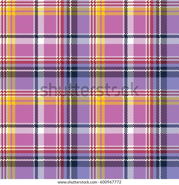 Pink purple plaid pixel texture fabric seamless pattern. Vector illustration.