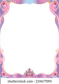 Pink and purple princess decorative frame with tiara, flourishes and colorful rhinestones. Isolated vector illustration.
