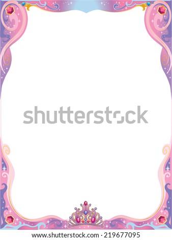 Pink Purple Princess Decorative Frame Tiara Stock Vector Royalty