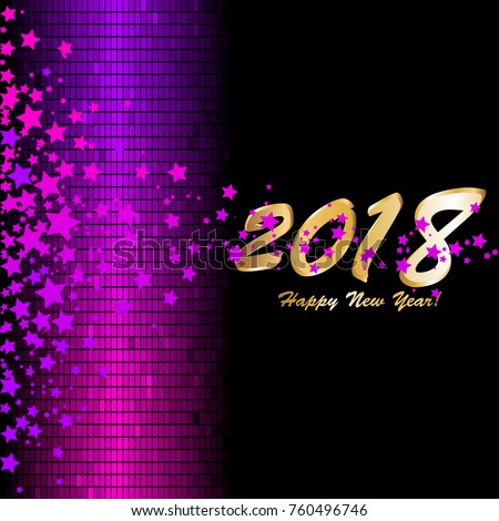 pink and purple stars on a black background happy new year 2018 sparkles on