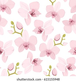 Pink purple tender orchid floral seamless pattern. Exotic spring summer flowers bloom blossom foliage garland bouquet. Isolated on white background. Vector design illustration.