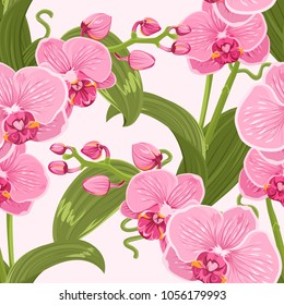 Pink purple tender orchid phalaenopsis floral seamless pattern. Exotic spring summer flowers bloom blossom foliage garland bouquet on white background. Vector design illustration.
