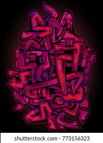 Pink and purple urban wild-style urban graffiti abstract background