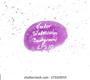 Pink and purple watercolor hand painted oval shape design element with splashes. Vector Illustration EPS10.