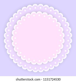 Pink purple and white scalloped lacy edge embroidery circle doilies, card template, vector