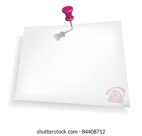 Pink push pin and paper note soft background