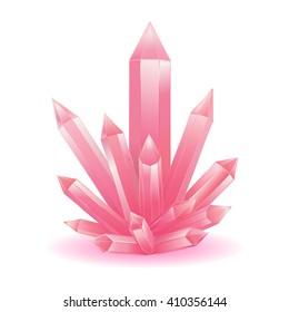 Pink quartz crystal isolated vector illustration. Rose quartz gemstone. Stone energy healing