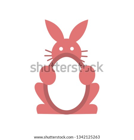Pink Rabbit Egg Element Web Icon Stock Vector (Royalty Free