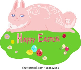pink rabbit pattern for easter