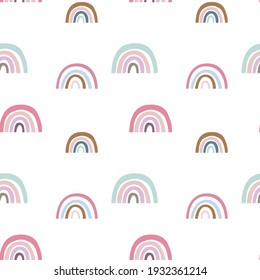 Pink rainbow and cute clouds seamless pattern