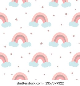Pink rainbow seamless pattern decorated clouds stars for baby girl design template. Cute baby shower pink color background. Childish style wallpaper textile fabric cloth. Vector illustration.