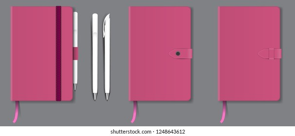 Pink realistic hard cover notebook with red bookmark, ribbon and pen. Vector illustration.