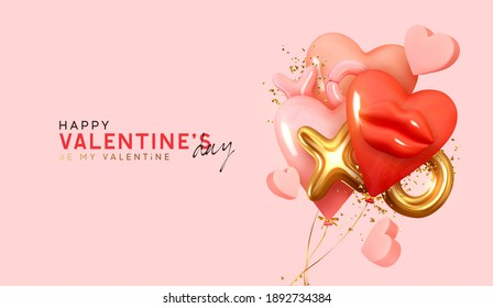 Pink and Red balloons in shape of hearts, gold metal text XO XO. Valentine's Day Background. Realistic design with romantic decorative objects in 3d. Bright holiday composition. Vector illustration
