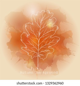 Pink, red and beige Watercolor background with oak leaf. Vector illustration of autumn background - Vector