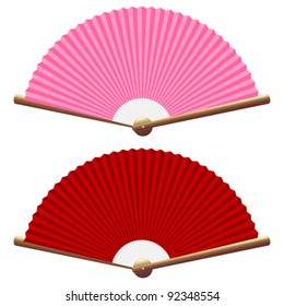 Pink and red folding fan isolated over white