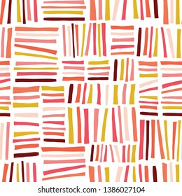 Pink red gold yellow blocks seamless abstract pattern