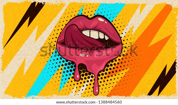 Pink Red Lips Mouth Tongue Icon Stock Vector Royalty Free 1388484560