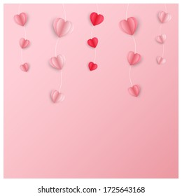Pink and red paper heart, decorated with rope on a pink background, paper cut style.
