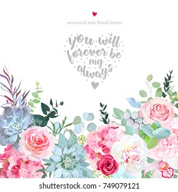 Pink and red roses, hydrangea, white peony, orchid, brunia, eucalyptus, succulents, agonis vector design card. Botanical style frame with spring mixed flowers. Elegant floral wedding background.