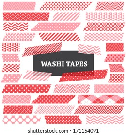 Pink, Red and White Washi Tape Strips with Torn Edges and Different Patterns. Semitransparent. Photo Frame Border, Web Blog Layout Element, Clip Art, Scrapbook Embellishment. Global colors used.