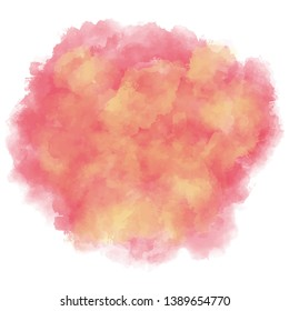 Pink, red, yellow watercolor background. Abstract vector paint splash, isolated on white backdrop. Aquarelle colorful texture. Watercolour backdrop for invitation, your text or gift card.