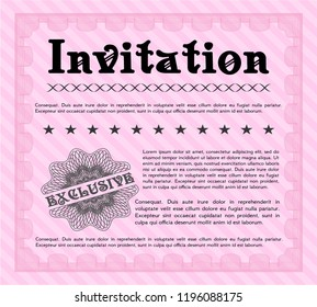 Pink Retro invitation. Customizable, Easy to edit and change colors. With quality background. Money style design.