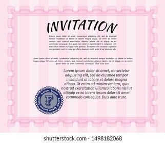 Pink Retro invitation template. With great quality guilloche pattern. Superior design. Vector illustration.