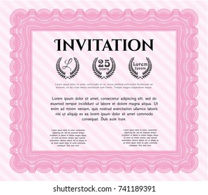 Pink Retro invitation template. Nice design. Detailed. With background.