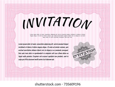 Pink Retro vintage invitation. Retro design. With great quality guilloche pattern. Customizable, Easy to edit and change colors.