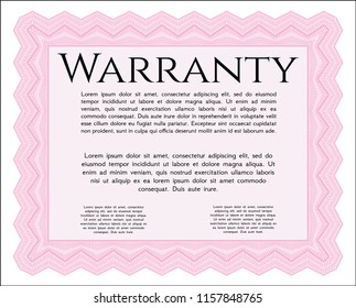 Pink Retro Warranty Certificate template. Money Pattern. With linear background. Vector illustration.